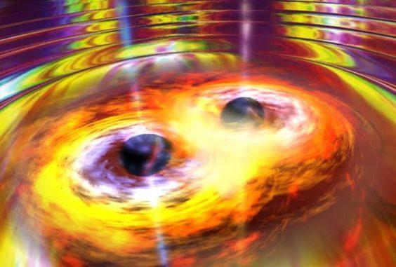 Illustration zweier verschmelzender Schwarzer Löcher und der dabei entstehenden Gravitationswellen. (Credits: Dana Berry / SkyWorks / NASA)