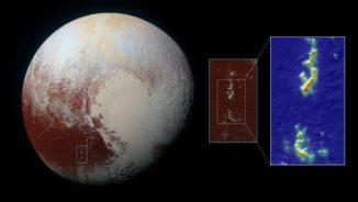 Pluto, aufgenommen von der Raumsonde New Horizons (links). Rechts ist eine Detailaufnahme der Pigafetta Montes zu sehen. Die Farbgebung zeigt den Methangehalt von gering (blau) nach hoch (rot). (Credits: NASA / JHUAPL / SwRI and Ames Research Center / Daniel Rutter)