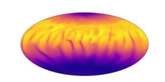 Die Grafik zeigt die kühleren (blau) und heißeren (gelb) Regionen auf einem Magnetar. Die Quelldaten stammen von den Magnetaren 4U 0142+61, 1E 1547.0-5408, XTE J1810–197 und SGR 1900 + 14. (Credits: University of Leeds)