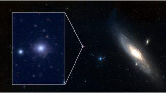 Der Kugelsternhaufen RBC EXT8 (links) liegt in den Randgebieten der Andromeda-Galaxie. Die Andromeda-Galaxie ist eine Nachbarin unserer Milchstraßen-Galaxie und rund 2,5 Millionen Lichtjahre entfernt. (Credit: ESASky / CFHT)