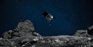 Die NASA-Raumsonde OSIRIS-REx nähert sich dem Asteroiden Bennu (künstlerische Darstellung). (Credits: NASA / Goddard / University of Arizona)