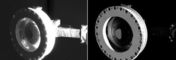 Diese Bilder zeigen den Sammelkopf des Touch-and-Go Sample Acquisition Mechanism (TAGSAM) der Raumsonde OSIRIS-REx. Die Bilder entstanden am 14. November 2018 im Rahmen einer visuellen Prüfung des Systems. (Credits: NASA / Goddard / University of Arizona)