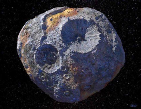 Der massereiche Asteroid 16 Psyche. (Credits: Courtesy of Maxar / ASU/P. Rubin / NASA / JPL-Caltech)