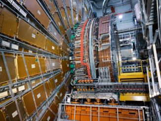 Das Kalorimeter und das Myon-Spektrometer des ATLAS-Experiments am Large Hadron Collider am CERN. (Credits: Image: S. Goldfarb / ATLAS collaboration)