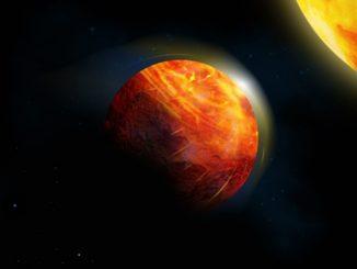 Künstlerische Darstellung des Exoplaneten K2-141b. (Credits: Image by Julie Roussy, McGill Graphic Design and Getty Images)