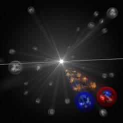 Künstlerische Darstellung der Wechselwirkung zwischen einem Omega-Hyperon (links) und einem Proton (rechts). (Credits: Image: CERN)