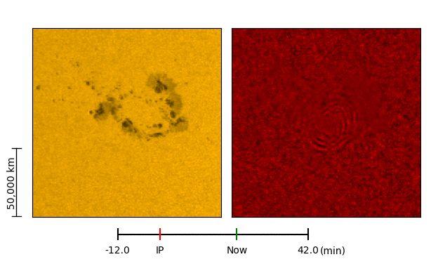 Ausschnitt aus einer Animation eines Sonnenbebens, das auf einen Flare folgte. Die wellenförmigen Strukturen sind rechts erkennbar. (Credits: NASA / SDO)