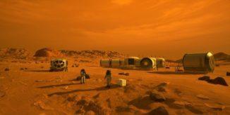 Künstlerische Darstellung von Astronauten und Habitaten auf dem Mars. (Credits: NASA)