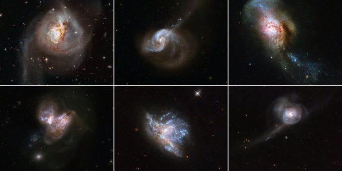 Sechs verschmelzende Galaxienpaare, aufgenommen vom Weltraumteleskop Hubble. Obere Reihe: NGC 3256, NGC 1614, NGC 4194. Untere Reihe: NGC 3690, NGC 6052, NGC 34. (Credit: NASA & ESA)
