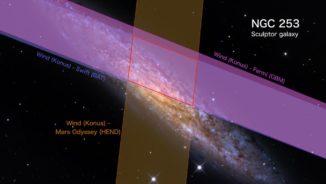 Der Riesenflare GRB 200415A und seine Positionsbestimmung am Himmel, basierend auf Beobachtungsdaten verschiedener Weltraumobservatorien. (Credits: NASA's Goddard Space Flight Center and Adam Block / Mount Lemmon SkyCenter / University of Arizona)
