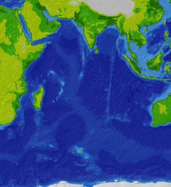 Topografische Karte des Indischen Ozeans. (Credits: Wikipedia / User: Cdc~commonswiki / CC-BY-SA 3.0)