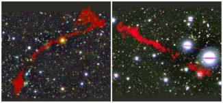 Die zwei Riesenradiogalaxien MGTC J095959.63+024608.6 (links) und MGTC J100016.84+015133.0 (rechts), basierend auf Daten des MeerKAT-Teleskops. (Credits: I. Heywood (Oxford / Rhodes / SARAO, Attribution CC BY 4.0)