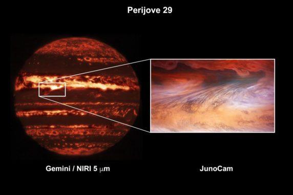 Ein Hotspot auf Jupiter, aufgenommen vom Gemini North Telescope (links) und der Raumsonde Juno (rechts). (Credits: Gemini image: International Gemini Observatory / NOIRLab / NSF / AURA M.H. Wong (UC Berkeley); JunoCam image: NASA / JPL-Caltech / SwRI / MSSS / Brian Swift © CC BY / Tom Momary © CC BY)