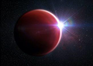 Künstlerische Darstellung des wolkenfreien Exoplaneten WASP-62b. (Credits: M. Weiss / Center for Astrophysics | Harvard & Smithsonian)