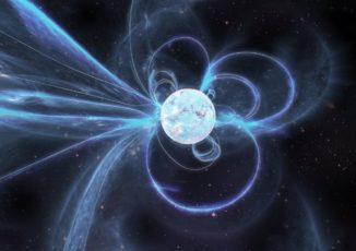 Künstlerische Darstellung des aktiven Magnetars Swift J1818.0-1607. (Credits: Image by Carl Knox, OzGrav)