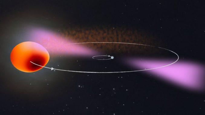 Künstlerische Darstellung von PSR J2039–5617, bestehend aus einem Pulsar und seinem Begleiter. (Credits: © Max-Planck-Institut für Gravitationsphysik / Knispel / NASA's Goddard Space Flight Center)