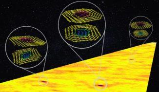 Künstlerische Darstellung einer Gruppe von antiferromagnetischen Wirbeln in Eisenoxid. (Credit: R. Shetty, K. Jani, H.Jani)