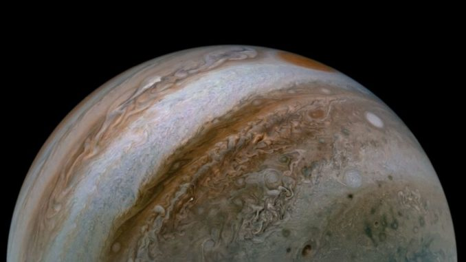 Jetstreams in der Atmosphäre Jupiters. (Credits: Image data: NASA / JPL-Caltech / SwRI / MSSS; Image processing by Tanya Oleksuik © CC NC SA)