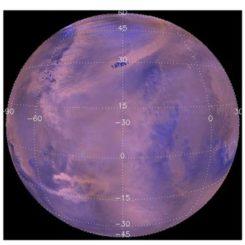 Staubstürme auf der Nordhalbkugel des Mars, aufgenommen von der Raumsonde Mars Global Surveyor. (Credits: NASA; Battalio and Wang 2021)