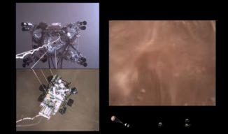 Ausschnitt aus dem Video von der Landung des Rovers Perseverance auf dem Mars. (Credits: NASA / JPL-Caltech)
