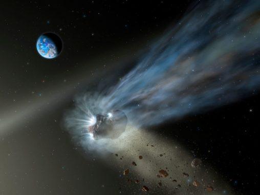 Künstlerische Darstellung eines Kometen aus der Oortschen Wolke bei der Passage durch das innere Sonnensystem. (Credits: NASA / SOFIA / Lynette Cook)