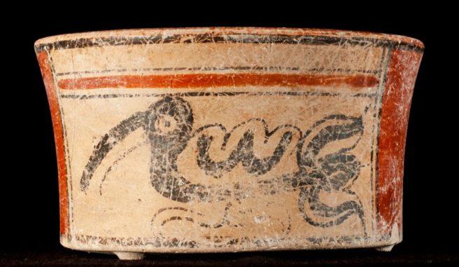 Eines von zwei Gefäßen aus einem nicht-königlichen Maya-Grab in El Palmar zeigt einen kormoranähnlichen Vogel. (Credits: Kenichiro Tsukamoto)