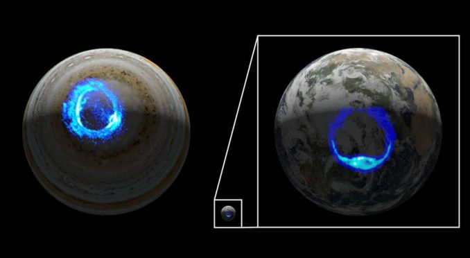 Vergleich der Ultraviolettauroras auf Jupiter und der Erde. Sie ähneln sich, obwohl Jupiter etwa zehnmal größer ist. (Credits: NASA / JPL-Caltech / SwRI / UVS / STScI / MODIS / WIC / IMAGE / ULiège)