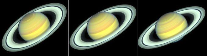 Der Gasriese Saturn in einer Bildsequenz, aufgenommen vom Weltraumteleskop Hubble in den Jahren 2018, 2019 und 2020. (Credits: NASA / ESA / STScI / A. Simon / R. Roth)