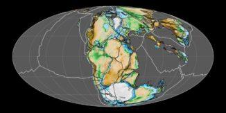 Karte des Superkontinents Pangaea im Mesozoikum vor etwa 200 Millionen Jahren. (Credits: Wikipedia / User: Fama Clamosa / CC-BY-SA 4.0)