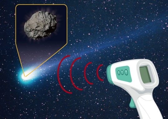 Illustration der Beobachtung thermaler Infrarotwellenlängen eines Kometen. (Credit: Kyoto Sangyo University)