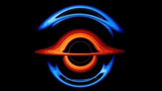 Ein Einzelbild aus der neuen Visualisierung, die den Tanz zweier supermassiver Schwarzer Löcher zeigt. (Credit: NASA's Goddard Space Flight Center / Jeremy Schnittman and Brian P. Powell)