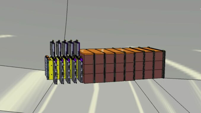 Schematische Darstellung des SND@LHC-Experiments aus einem Wolframziel mit Emulsionsfilmen (gelb) und elektronischen Trackingsystemen (grau), angeschlossen an einen Detektor (braun). (Credits: Image: Antonio Crupano / SND@LHC)