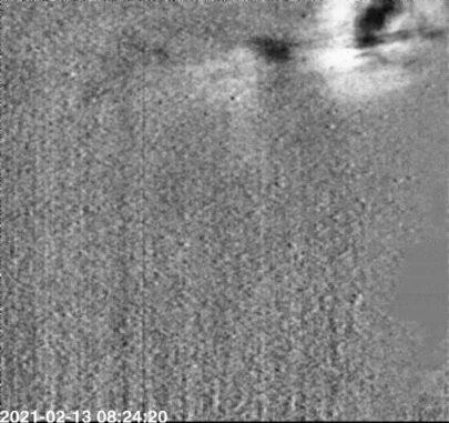 Der erste koronale Massenauswurf, der vom SoloHI-Instrument an Bord des Solar Orbiter aufgenommen wurde (Standbild aus der im Text verlinkten Animation). (Credits: ESA & NASA / Solar Orbiter / SoloHI team / NRL)