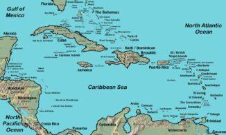 Karte der Karibik mit den Großen Antillen im Norden (Kuba, Jamaica, Hispaniola, Puerto Rico) und den Kleinen Antillen im Osten. (Credits: CIA World Factbook / gemeinfrei)