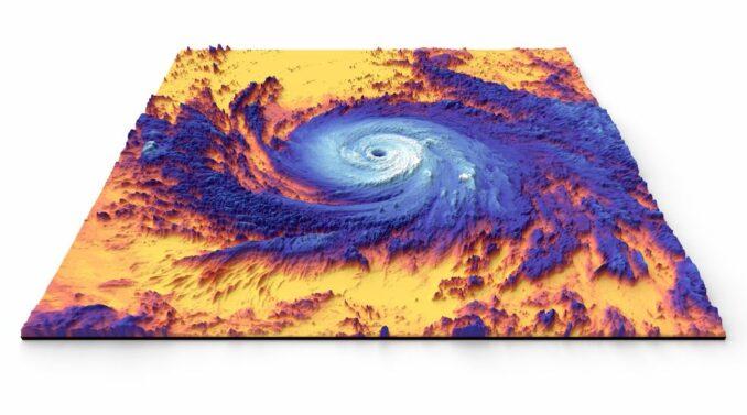 Ein Thermalbild des Hurrikans Maria aus dem Jahr 2017, aufgenommen vom NASA-Satelliten Terra. (Credits: NASA)