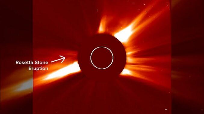Aufnahme der Rosetta-Eruption aus dem unten eingebundenen Video. (Credits: NASA / Mara Johnson-Groh / Haley Reed)