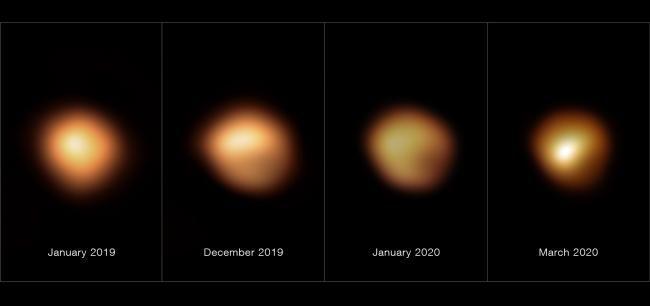 Aufnahmen des Sterns Beteigeuze zwischen Januar 2019 und März 2020. (Credits: ESO / M. Montargès et al.)