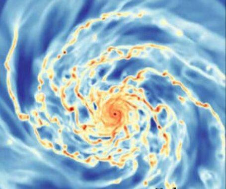 Computersimulation einer Galaxie in Frontalansicht. Rot deutet auf höhere Gasdichten hin, Blau auf geringere. (Credits: Semenov et al., 2021)