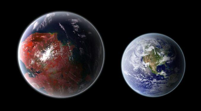 Künstlerische Darstellung von Kepler-422b (links) und der Erde (rechts). (Credits: Wikipedia / User: Ph03nix1986 / CC BY SA 4.0)