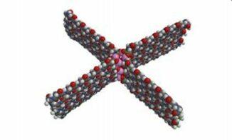 Schematische Darstellung eines Polymers (Wasserstoff = Weiß, Kohlenstoff = Schwarz, Stickstoff = Blau, Sauerstoff = Rot, Silizium = Pink, Eisen = Grün). (Credits: Julie Elizabeth Mary McGeoch and Malcolm William McGeoch)