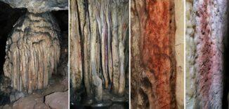 Tropfsteinformation mit Spuren roter Pigmente in der Cueva de Adales (Malaga, Andalusien). (Credits: © João Zilhão, ICREA)
