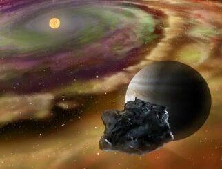 Künstlerische Darstellung von Jupiter und einem Kometen in einer kalten äußeren Region des jungen Sonnensystems. (Credits: Illustration provided by Yuki Kimura)