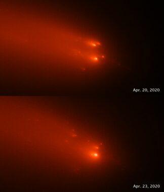 Die Hubble-Aufnahmen des Kometen C/2019 Y4 (ATLAS) vom 20. April und 23. April 2020 zeigen das Auseinanderbrechen des festen Kometenkerns. (Credits: Science: NASA, ESA, Quanzhi Ye (UMD); Image Processing: Alyssa Pagan (STScI))