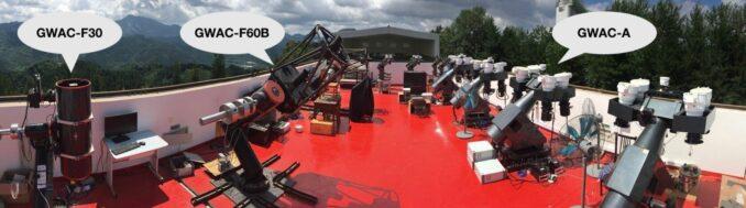 Die Teleskope von GWAC-A, GWAC-F60A/B und das GWAC- F30 (Credits: Image by HAN Xuhui)