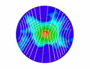 Diese Grafik zeigt den magnetisierten, sternbildenden Kern BHR 71 IRS1. Der zentrale Protostern und die planetenbildende Scheibe sind durch den orangefarbenen Kreis markiert. Die weißen Linien zeigen den Verlauf der Magnetfeldlinien an. (Credits: Myers, P. et al. 2020, Astrophysical Journal, 896, 163)
