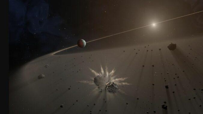 Diese künstlerische Darstellung zeigt Trümmer von planetenbildenden Kollisionen. (Credit: NASA / JPL-Caltech)