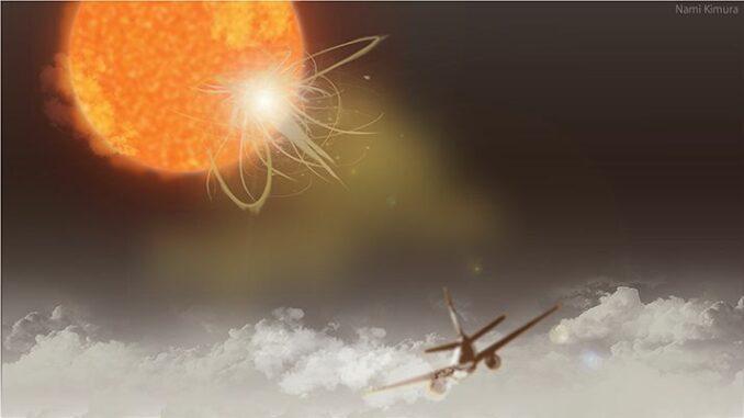 Künstlerische Darstellung eines Flugzeugs, das in großer Flughöhe der Sonnenstrahlung ausgesetzt ist (nicht maßstabsgetreu). (Credits: Illustrated by Nami Kimura)