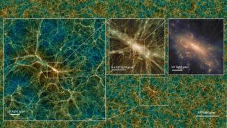 Die Verteilung von Dunkler Materie in einem Schnappschuss der Uchuu-Simulation. Die Bilder zeigen den Dunkle-Materie-Halo des größten Galaxienhaufens in verschiedenen Vergrößerungen. (Credit: Tomoaki Ishiyama)
