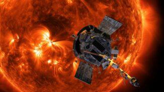 Künstlerische Darstellung der Parker Solar Probe in der Nähe der Sonne. (Credits: NASA / Johns Hopkins APL / Steve Gribben)