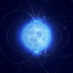 Künstlerische Darstellung des Magnetfelds eines Weißen Zwergs. (Credit: ESO / L. Calçada)